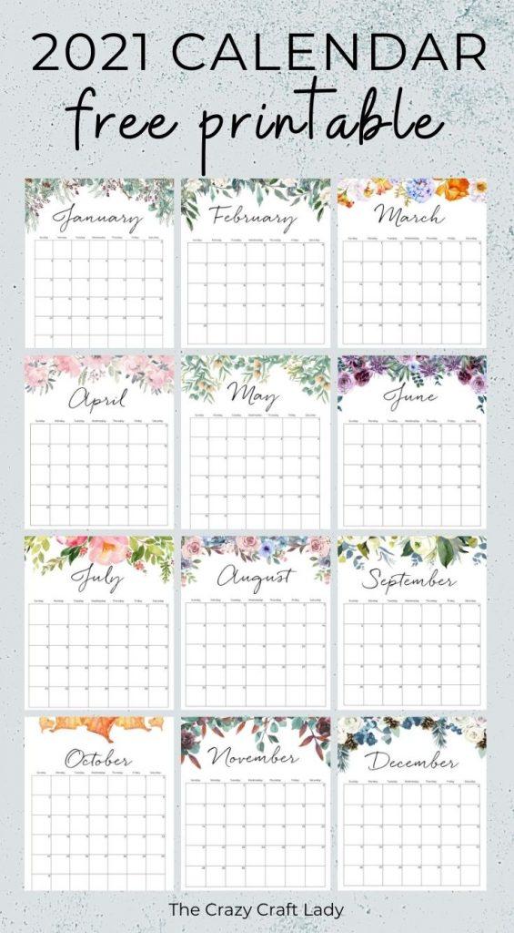 2021 Free Printable Floral Wall Calendar - The Crazy Craft ...