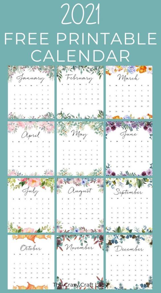 Free Printable Floral 2021 Wall Calendar
