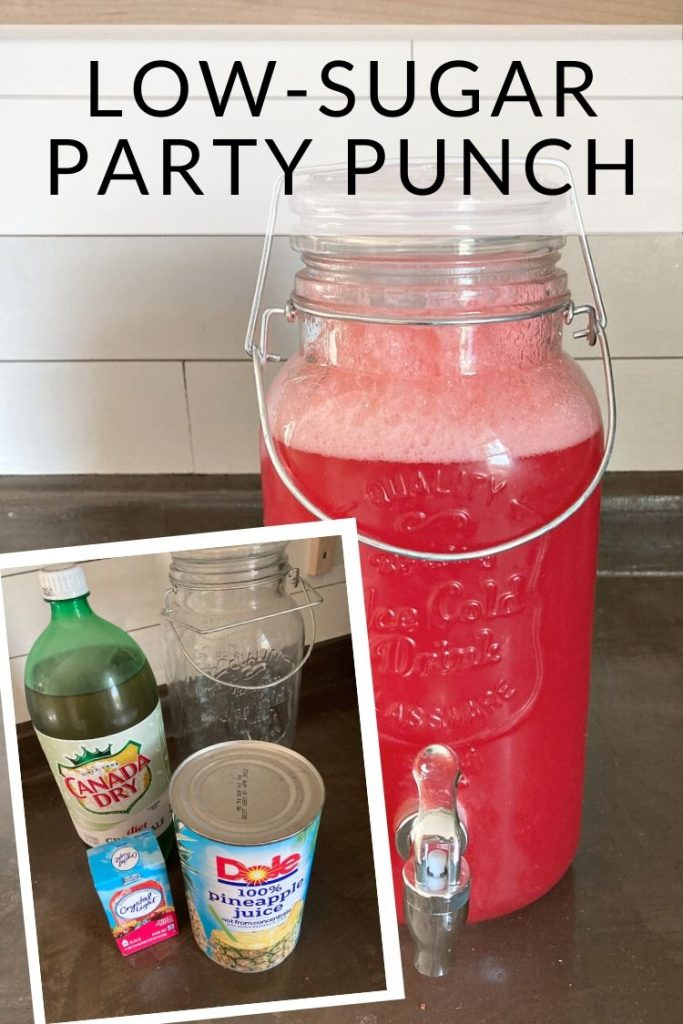 Low-Sugar Easy Party Punch Recipe made with just 3 ingredients. Serve over ice to please a crowd.