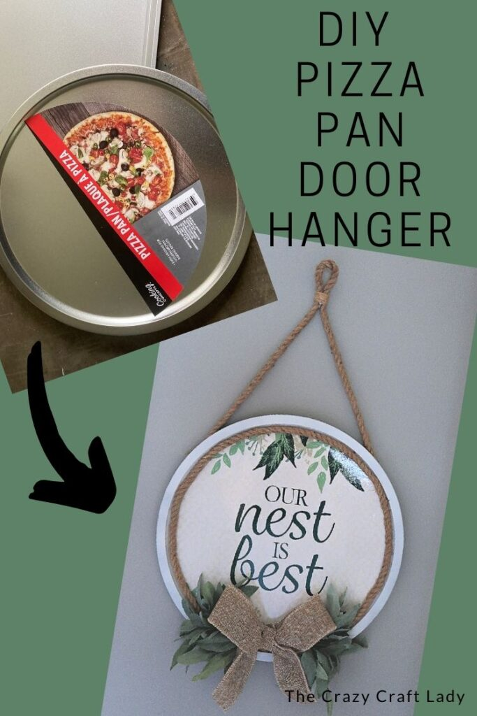 Dollar Store Pizza Pan Door Hanger - Whip up this farmhouse-style door hanger with just a few dollar store supplies.