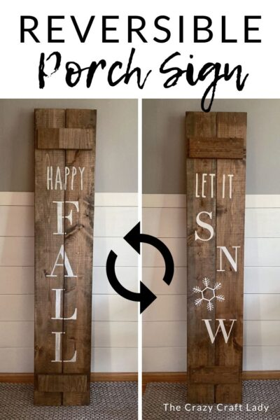 Does your entry need a new look? Make this reversible porch sign from scrap wood that can be customized for any season or style. A farmhouse-style vertical porch board sign requires only basic woodworking skills.