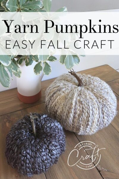 How to make cozy fall yarn pumpkins - follow this easy DIY tutorial to make yarn-wrapped faux pumpkins with chunky yarn. Neutral, farmhouse-style pumpkins for fall decorating.