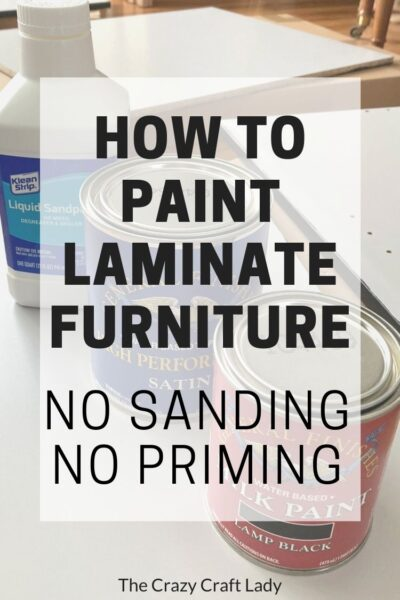 Follow this tutorial to see how to paint laminate furniture the easy way. With this no sanding, no priming method, you can paint laminate furniture in three easy steps.